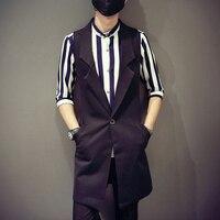 M 4XL!!2018 Male medium long vest turn down collar vest work wear