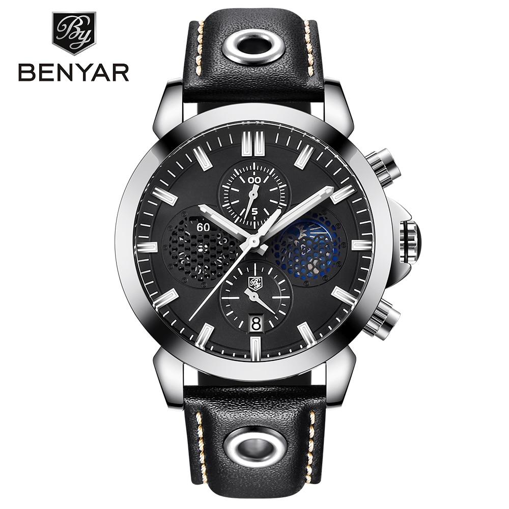 Stylish Men Wristwatch Waterproof Hollow Design Chronograph Sport Stainless Steel Luxury Genuine Leather Quartz Watches saati цена