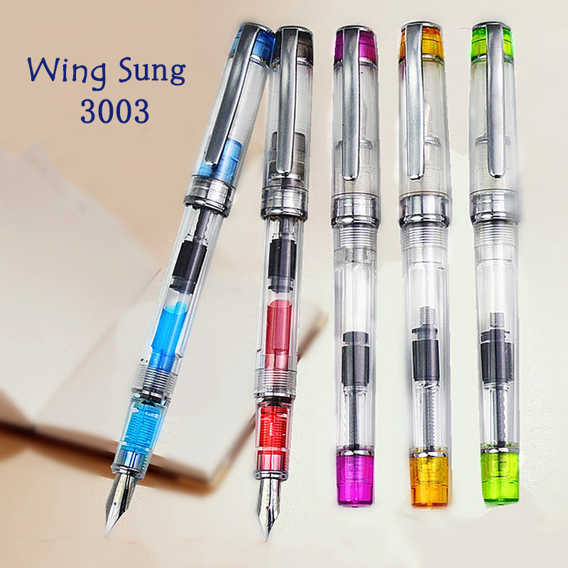 3 PCS Wingsung 3013 Fountain Pen Transparent Fine Nib Vaccum 3013 Nib