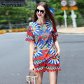2017 Runway Designer New Summer Two Piece Set Women's High Quality Short Sleeves Print T-Shirts Blouse + Shorts Casual Pants Set