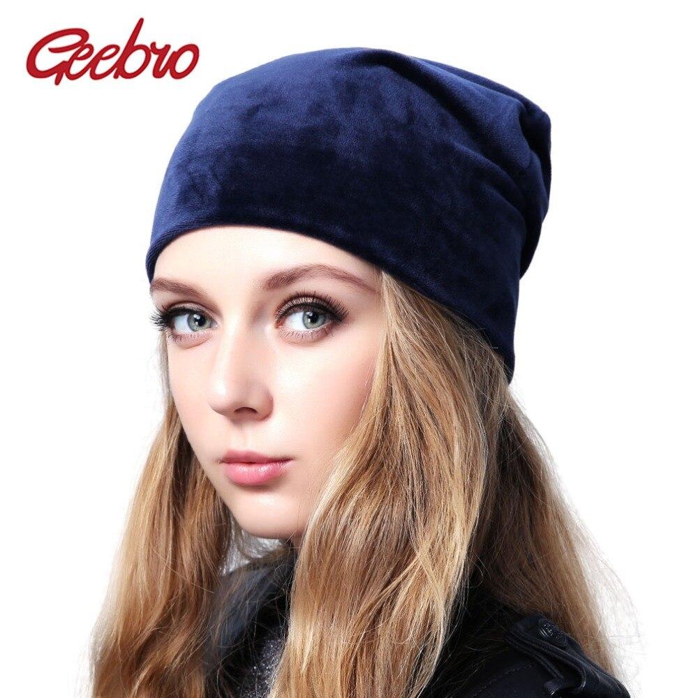 Geebro Brand Women's Velour Beanie Hat Casual Polyester Skullies Beanies For Women Winter Velvet Plain balaclava Bonnet Sapka