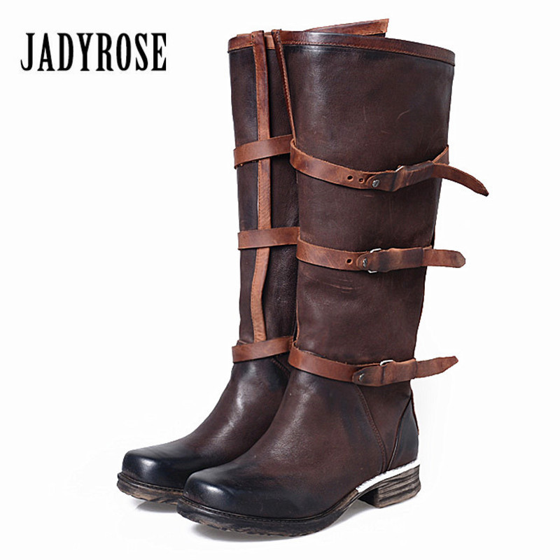 Jady Rose Genuine Leather Women Knee High Boots Vinatge Riding Boots Flat Shoes Woman Platform Botas Militares Straps Long Boot bacia russian original design boots knee high platform boot genuine leather quality shoes handmade footwear women botas vc001