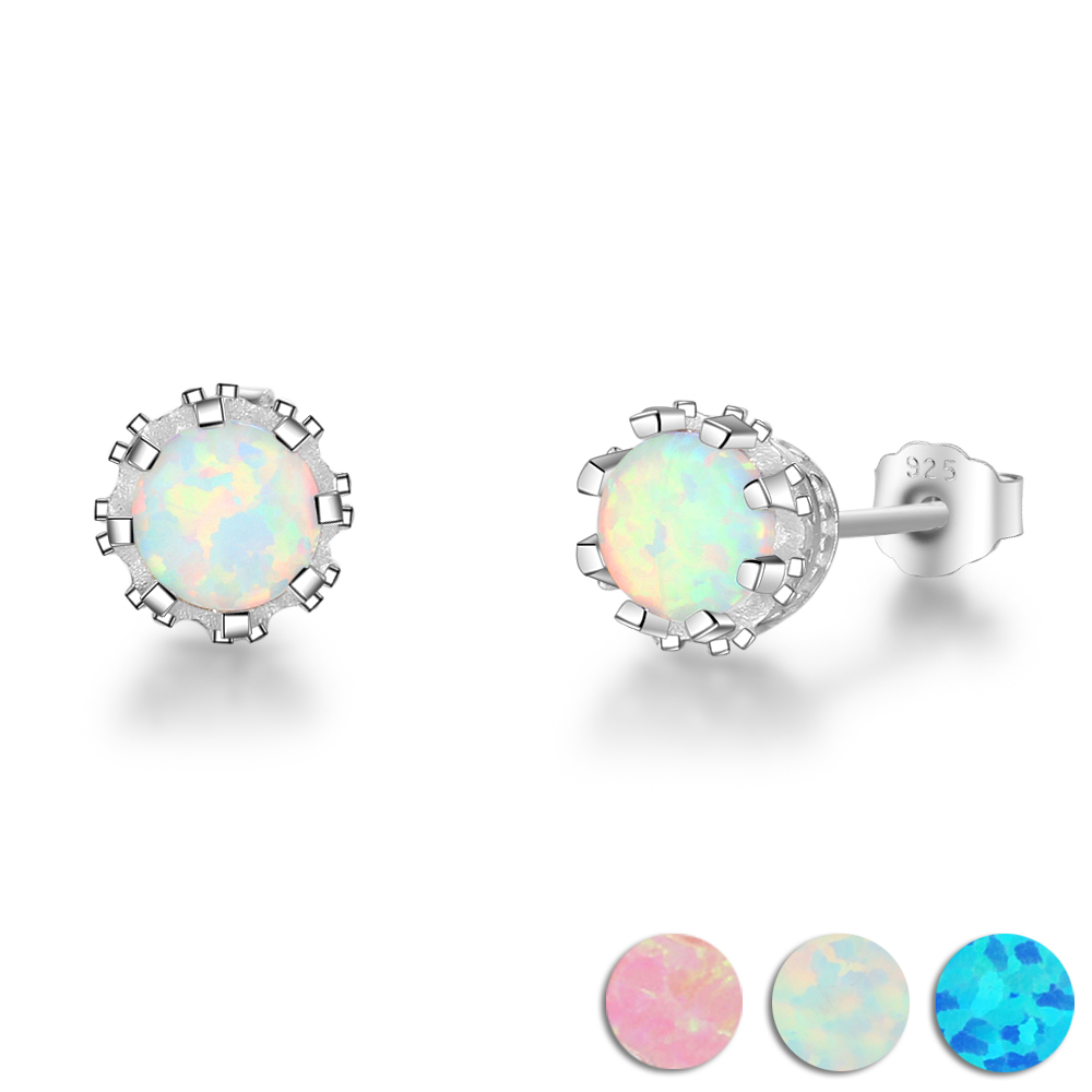 Cute Butterfly Stud Post Earrings Created Blue Opal Round Simulated Cubic Zirconia 925 Stelring Silver