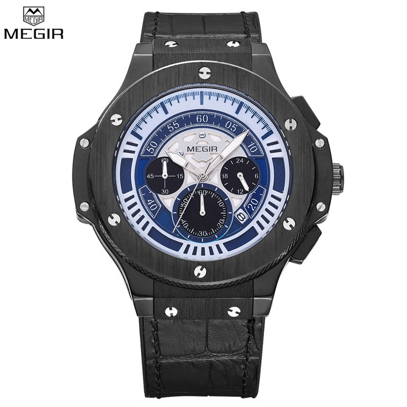 MEGIR Brand Men Chronograph Water Resistant Hot Sale Casual Sport Watch Large Dial 24 Hours Function