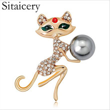 Sitaicery 2019 Opal Brooch Cat Holding Energy Ball Woman Sexy Cute Pin And Wedding Accessories Luxury Jewelry