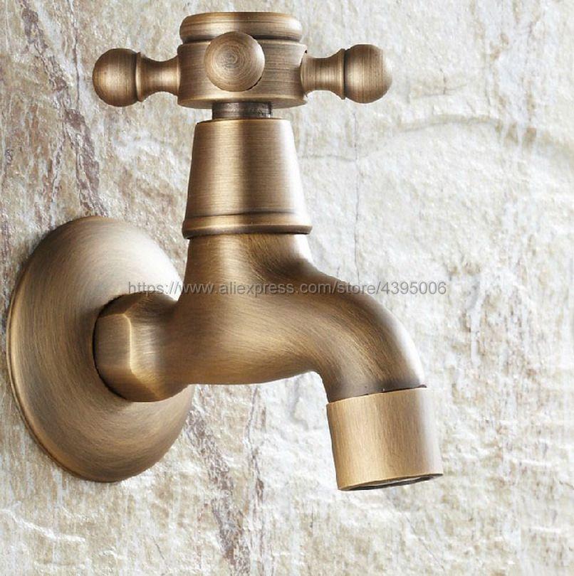Antique Brass Wall Mount Outdoor Faucet Garden Bibcock Tap