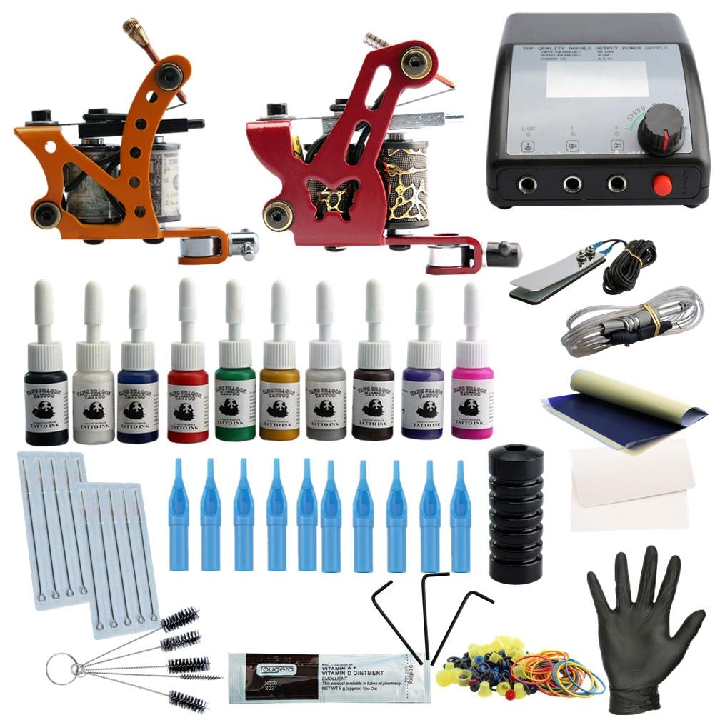 Complete Tattoo Kit 2 Tattoo Machines Gun Black Ink Set Power Supply Grips Body Arts Tools Set Tattoo Permanent Makeup 9656 early simple machines set