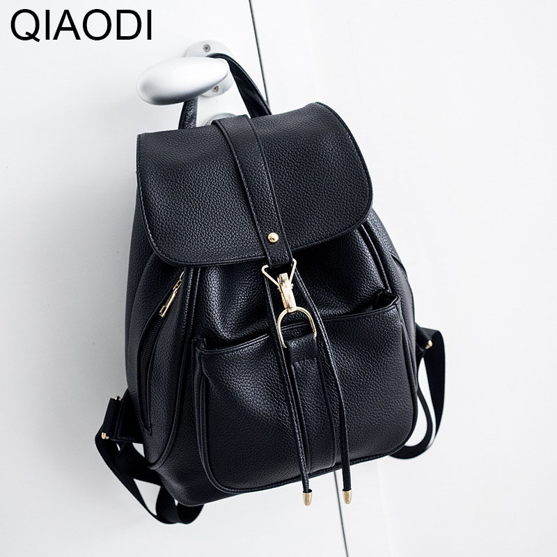Qiaodi Korean Style Women Backpack Top Quality Leather Double Shoulder School Bag for Teenage Girls Female Casual Solid Bagpack