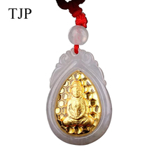 цены 18K Natural Emerald Gold Ruyi Guanyin Pendants Pendant Factory Wholesale and Machining JXY415 Free shipping