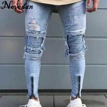 50b57d5a85 Hombre Vaqueros pista Slim Racer rayado hombre Biker Jeans de moda Jogger  Hiphop marca botín agujero Skinny Jeans para hombres