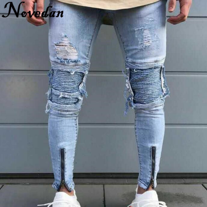 Mens Ripped   Jeans   Runway Slim Racer Scratched Male Biker   Jeans   Fashion Jogger Hiphop Brand Swag Hole Skinny   Jeans   For Men