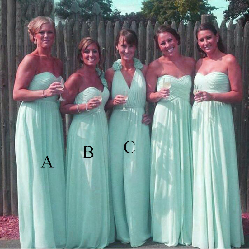 Beach Bohemia Long   Bridesmaid     Dresses   For Women 2019 Flowing Aqua chiffon A Line Party   Dress   Formal Gown