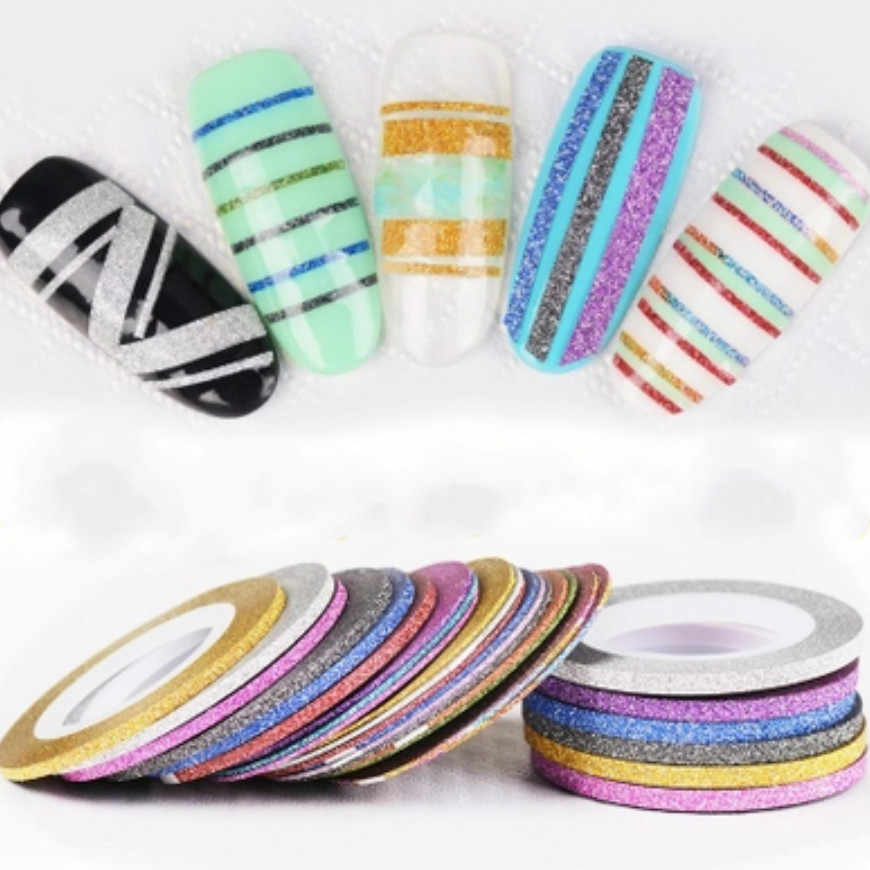 12 Color 1mm Glitter Nail Striping Line Tape Sticker Set Art Decorations DIY Tips For Polish Nail Gel Rhinestones Decorat Jmc11