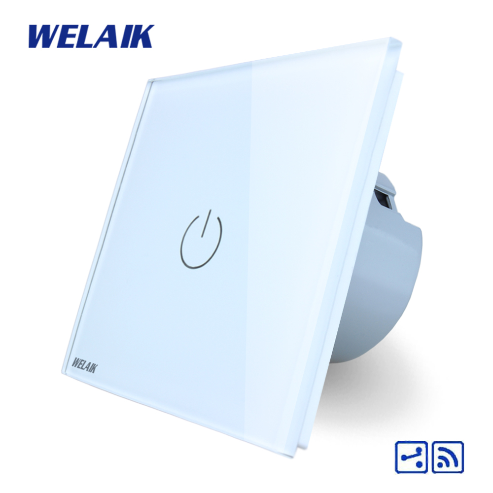 WELAIK Crystal Glass Panel Switch White Wall Switch EU Remote Control Touch Switch Light Switch 1gang2way AC110~250V A1914W/B 1 way 1 gang crystal glass panel smart touch light wall switch remote controller white black gold ac110v 240v