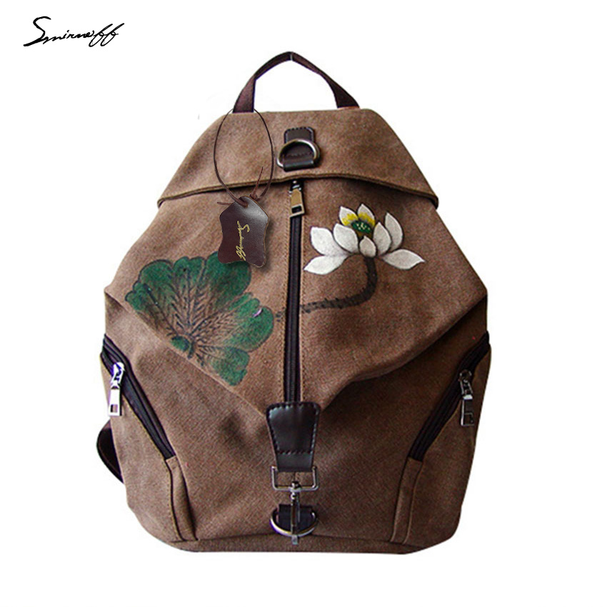 ФОТО New 2017 Summer Girls Rucksack Ethnic Style Lotus Pattern Art Canvas Travel Backpack Canvas Women Bag Designer Ladies Backpack