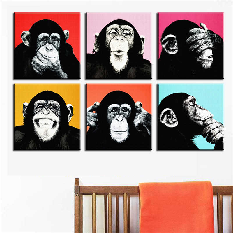 6PCS Andywarol Monkey Wall Painting Print On Canvas For Home Decor Ideas Paints On Wall Pictures Art No Framed