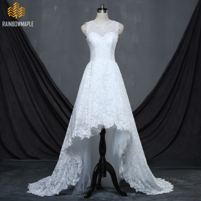 Elegant A Line Lace High Low Wedding Dresses For Women Unique O Neck Sweep Train Tulle Bridal Gowns Cheap Dress