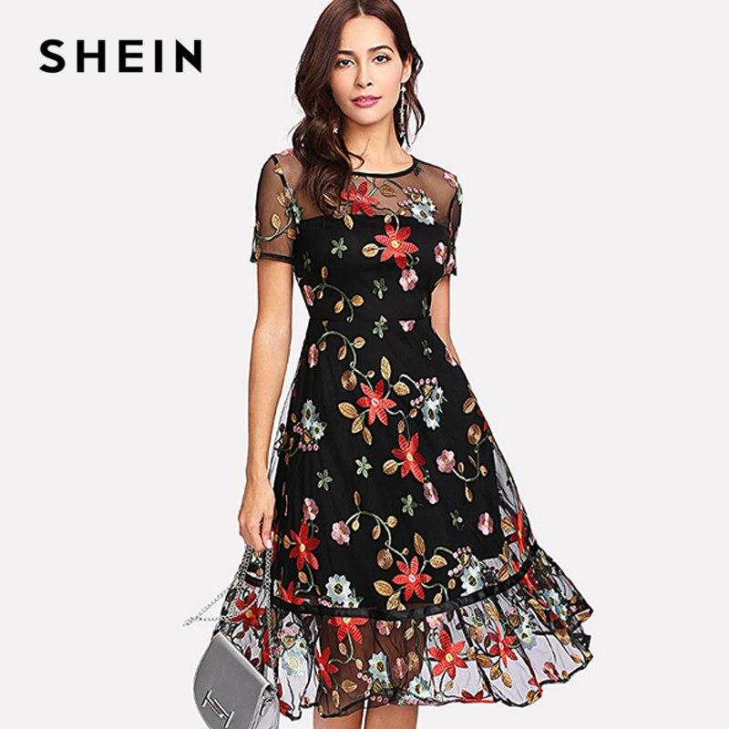 Шеин короткий рукав линия летние платья многоцветный цветочные Fit & FLARE DRESS ботанический Вышивка Mesh Overlay рюшами подол платья