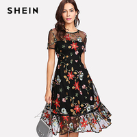 SHEIN Short Sleeve A Line Summer Dresses Multicolor Floral Fit Flare Dress Botanical Embroidery Mesh Overlay