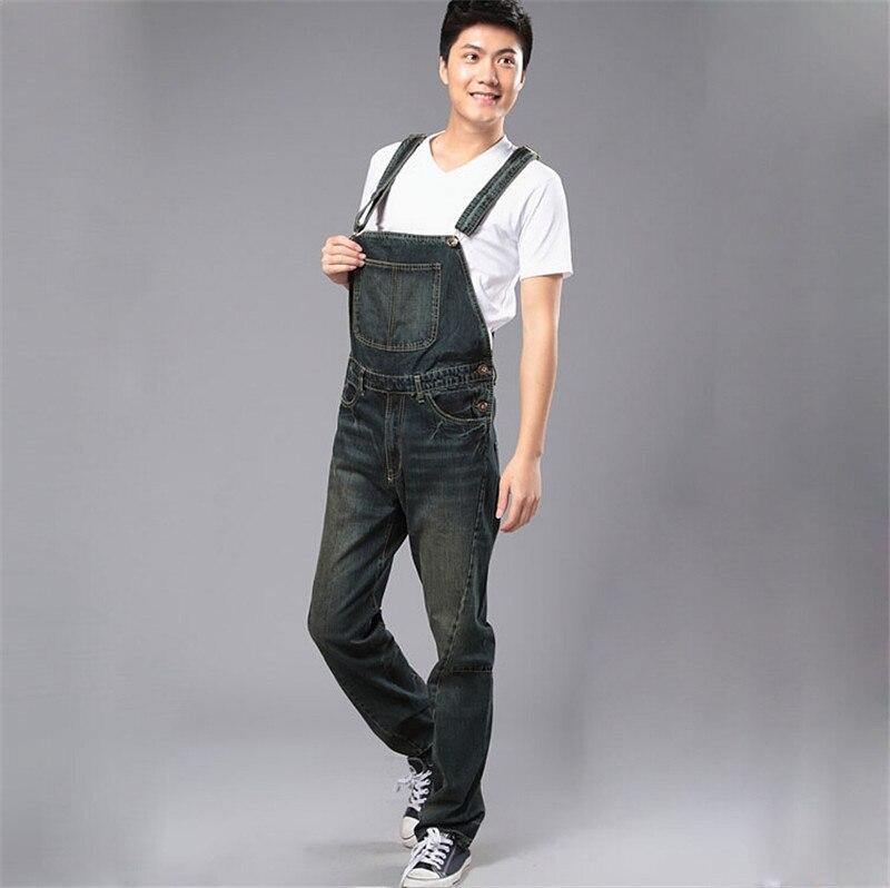 Men's Fashion Pocket Denim Overalls For Boys Male Casual Loose Jumpsuits Plus Large Size S M L XL 2XL 3XL 4XL Jeans Bib Pants 2016 new men s casual pocket blue denim overalls slim jumpsuits pants ripped jeans for man plus size 28 34
