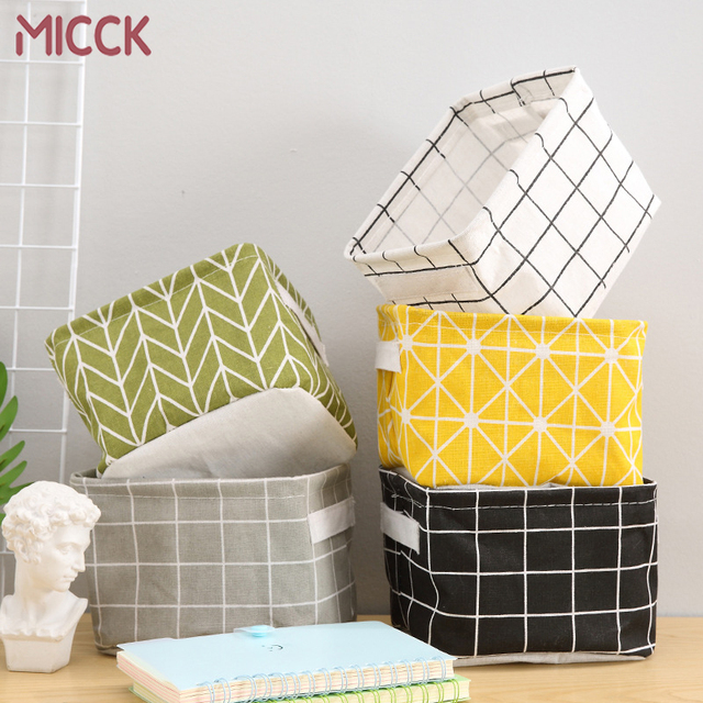 MICCK DIY Desktop Storage Basket Sundries Underwear Toy Storage Box Cosmetic Book Organizer  Stationery Container Laundry Basket