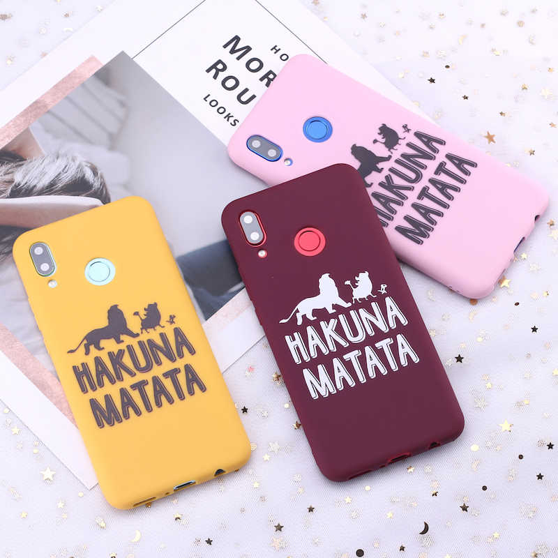 Para Samsung S8 S9 S10 S10e Plus Nota 8 9 10 A7 A8 Hakuna Matata Rey León de cubierta de la caja del teléfono de silicona Capa Fundas Coque