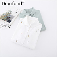 Dioufond Brand New Spring Women Shirt Cotton Casual Print Blouses White Long Sleeve Shirt Fashion Turn