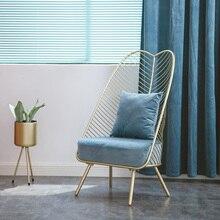Светильник в скандинавском стиле, Роскошная ткань из кованого железа, Красный Одиночный маленький диван, простая гостиная, спальня, балкон, для отдыха, высокий стул