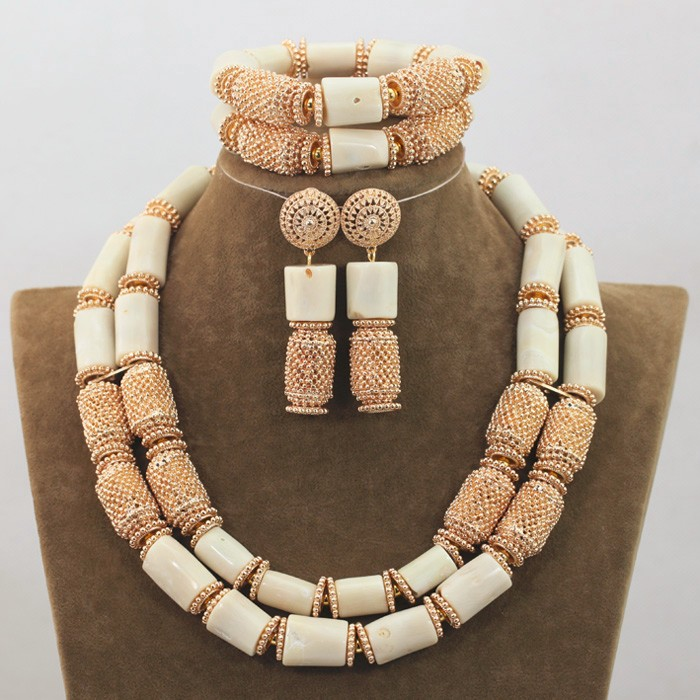 High Quality Men Coral Beads Necklace Bracelet Set 30 inches Nigerian Wedding Groom Jewelry Set 2017 Free Shipping CNR726