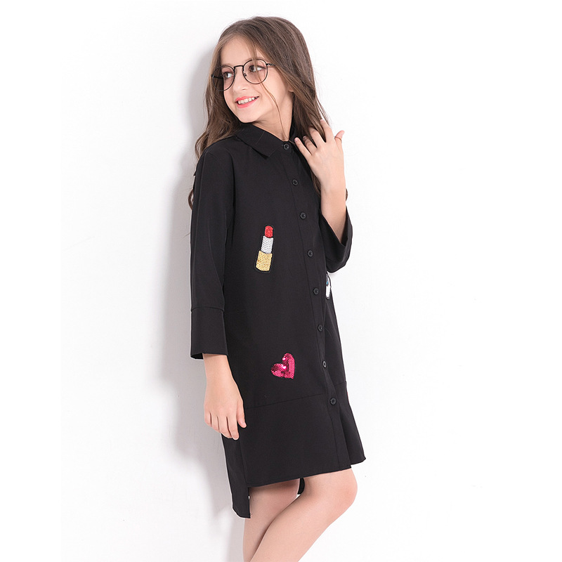 Image 4 - Children Dress Black Chiffon Blouse for Girls Teenage Girls Clothing 5 7 9 10 12 14 years Long Sleeve Sequined Kid Girl Dress-in Dresses from Mother & Kids