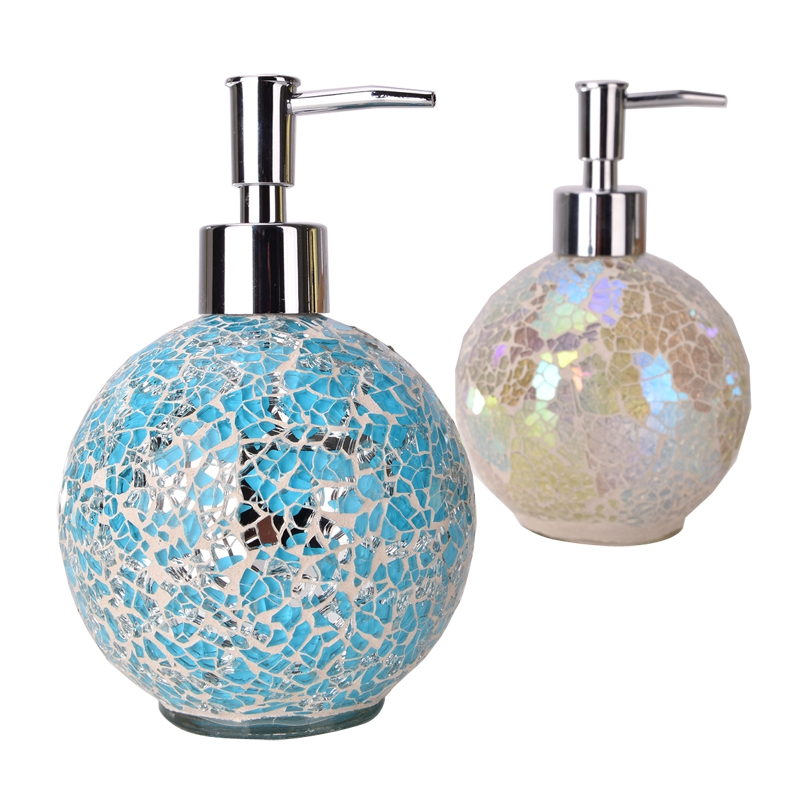 Brand new Modern Kitchen Hospital Hotel Liquid Soap Dispensers crackle glass  KQ93