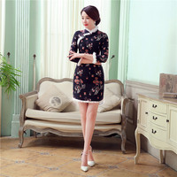 Kış Yeni Varış Chiense kadın Pamuk Qipao Eski Tavşan Yaka Cheongsam Çiçek Kalın Jakarlı Elbiseler Sml XL XXL