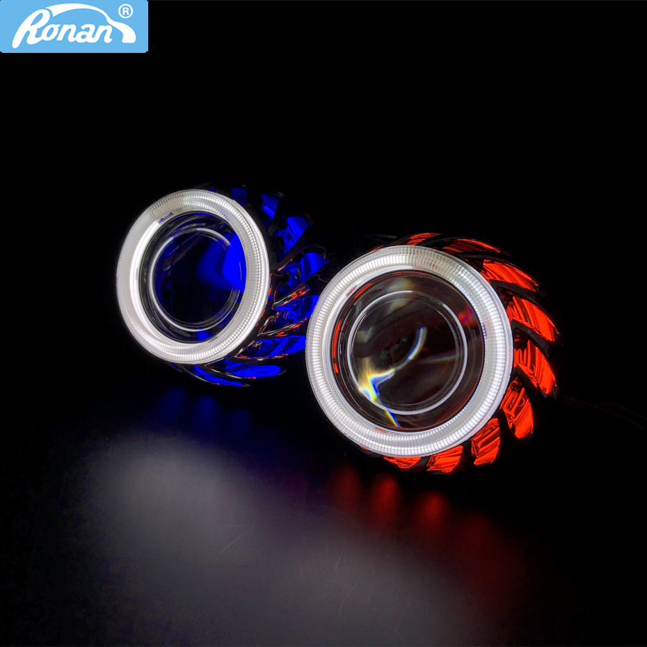RONAN 2.5 bi xenon Double Angel Eyes CCFL HID Projector headlight Lens LHD RHD use bulb H1 with H4 H7 adapter hot wheels shroud free shipping iphcar lhd rhd auto driving front lens universal led ring angel eyes light mini projector headlight for h1 h4 h7