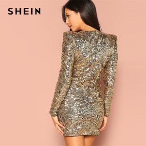 Image 2 - SHEIN Gold Form Fitting Sequin Round Neck Long Sleeve Bodycon Dress Autumn Weekend Casual Going Out Women Solid Elegant Dresses