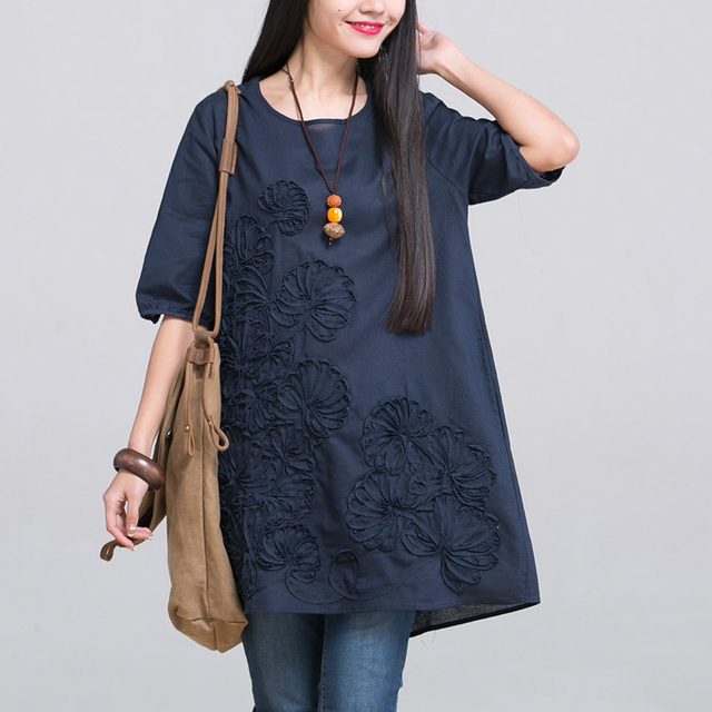 7010c600356 2019 New Spring Summer Pregnancy Clothing Plus Size O-neck Embroidered Maternity  Dresses Linen Clothes