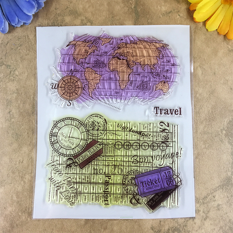 Travel around the earth ticket world map scrapbook diy photo cards travel around the earth ticket world map scrapbook diy photo cards account rubber stamp clear stamp transparent stamp 1418cm in stamps from home garden gumiabroncs Images