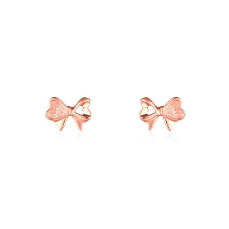 2018 High Quality Fashion 2018 Chic Rose Gold Bow Stud Earrings 18K Gold AU750 Stud Earrings For Women 0.41G цена
