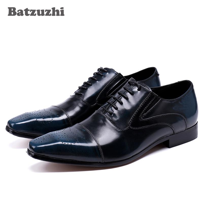 Batzuzhi роскошные мода мужчины обувь шнуровка кожа обувь мужчины Оксфорд обувь для мужчины свадьба/бизнес sapatos мужчина синий/красный