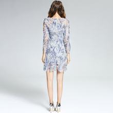 Blue Petal Sleeve Dress Sequined Dresses Clubwear