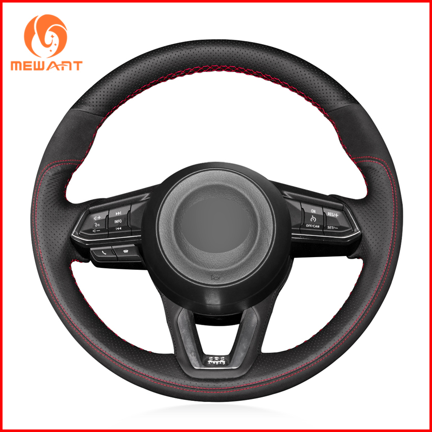 Black Genuine Leather Black Suede Steering Wheel Covers for Mazda 3 Axela 2017 Mazda 6 Atenza