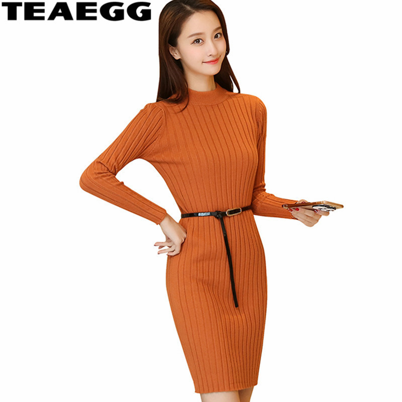 TEAEGG Slim Knitted Dress New Fashion Autumn Winter Dresses font b Robe b font font b