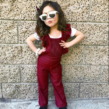 New Fashion Children Girls Chic Overalls Clothes Lace Floral High Waist Fashion Toddler Girls Velvet Backless Jumpsuit Backless(China)