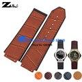 Convex interface Wide Genuine Leather bracelet men watchband 25mm accessories Wrist watch band  wristwatches strap wristband