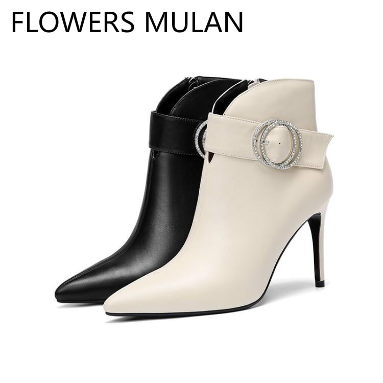 Elegant Solid Black White Leather Ankle Boots For Women Chic Pointed Toe Belt Crystal Ring Buckle Shoes Woman Side Zipper Botas