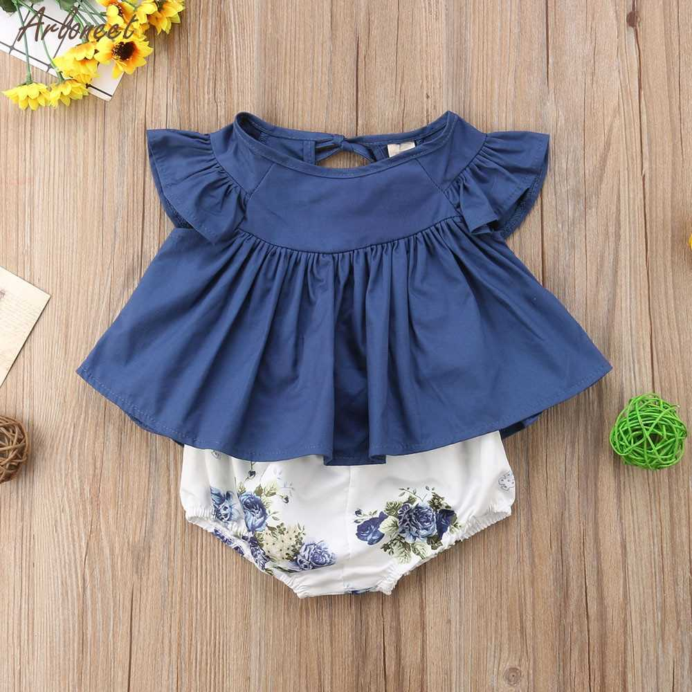 Infant Child Baby Girl Outfits Clothes Tee Tops+Flower Shorts Pants 2PCS Suit