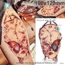 Punk Waterproof Temporary Tattoos For Lady Women 3D Terror Skull Design Large Tattoo Sticker MC2725