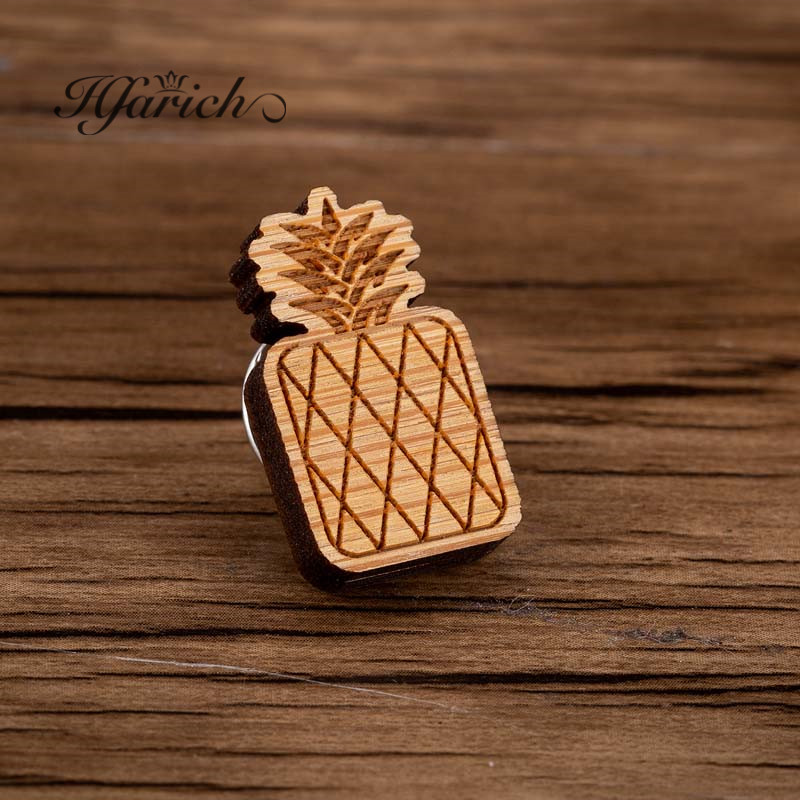Hfarich Retro Kitsch Pineapple Fruit Brooch Pins Laser Cut Maple Wood Graphic Food Brooches Summer Holiday Jewelry For Kids Men Always Buy Good Brooches