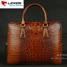 LEXEB Brand Men's Office Handbags High Quality Alligator Patent Leather Briefcase Luxury Men Business Laptop Bags 14″ Brown