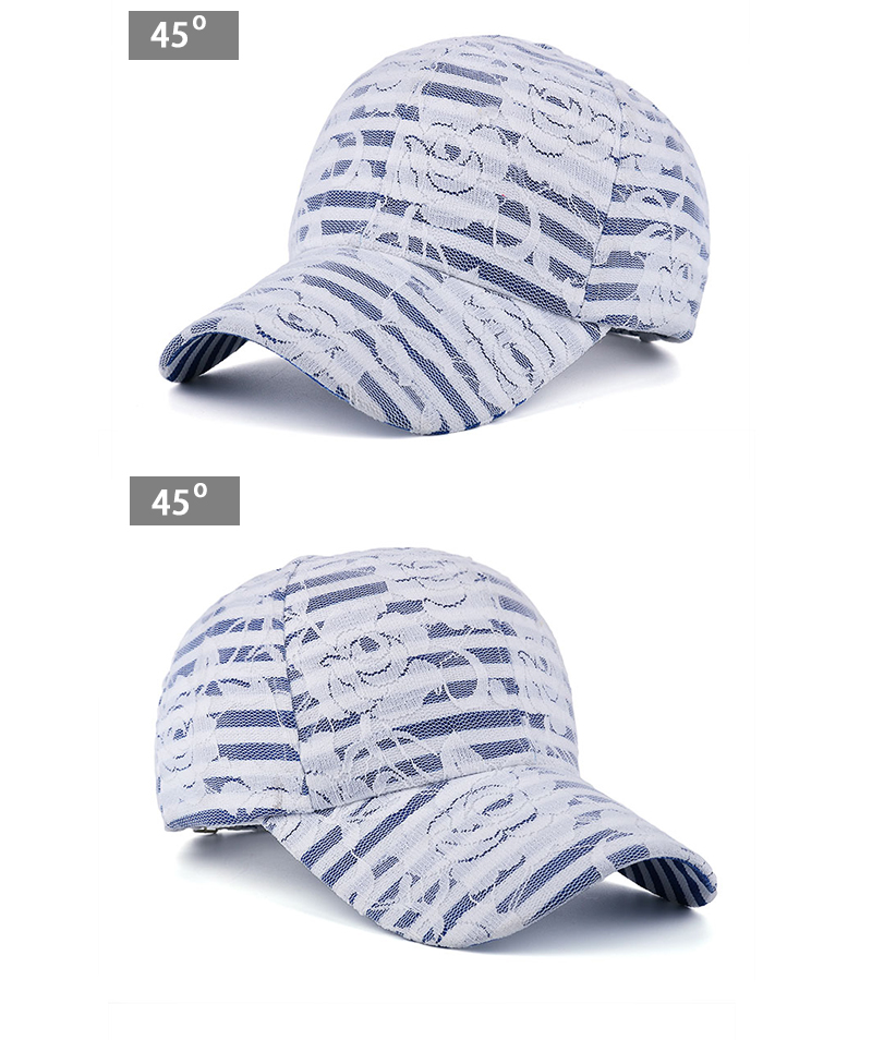 Lace over Denim Baseball Cap - Front Angle Views