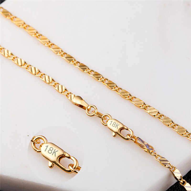 Modyle 2mm זהב כסף שרשרת יוניסקס שטוח נחש קישור שרשרת לובסטר אבזם collares שרשראות לנשים גברים